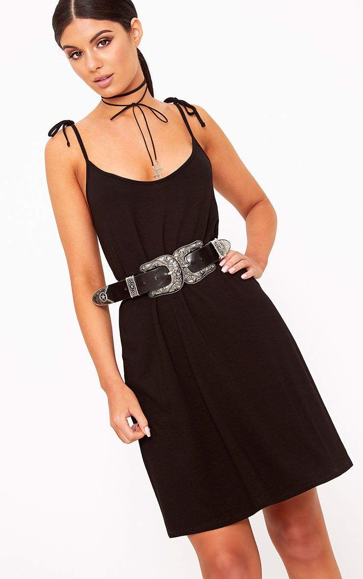 PRETTYLITTLETHING Jersey Strap Detail Swing Dress Clearance Cheapest Price Wide Range Of Online 2018 Unisex Pick A Best Cheap Price Sale Explore veeXNltz