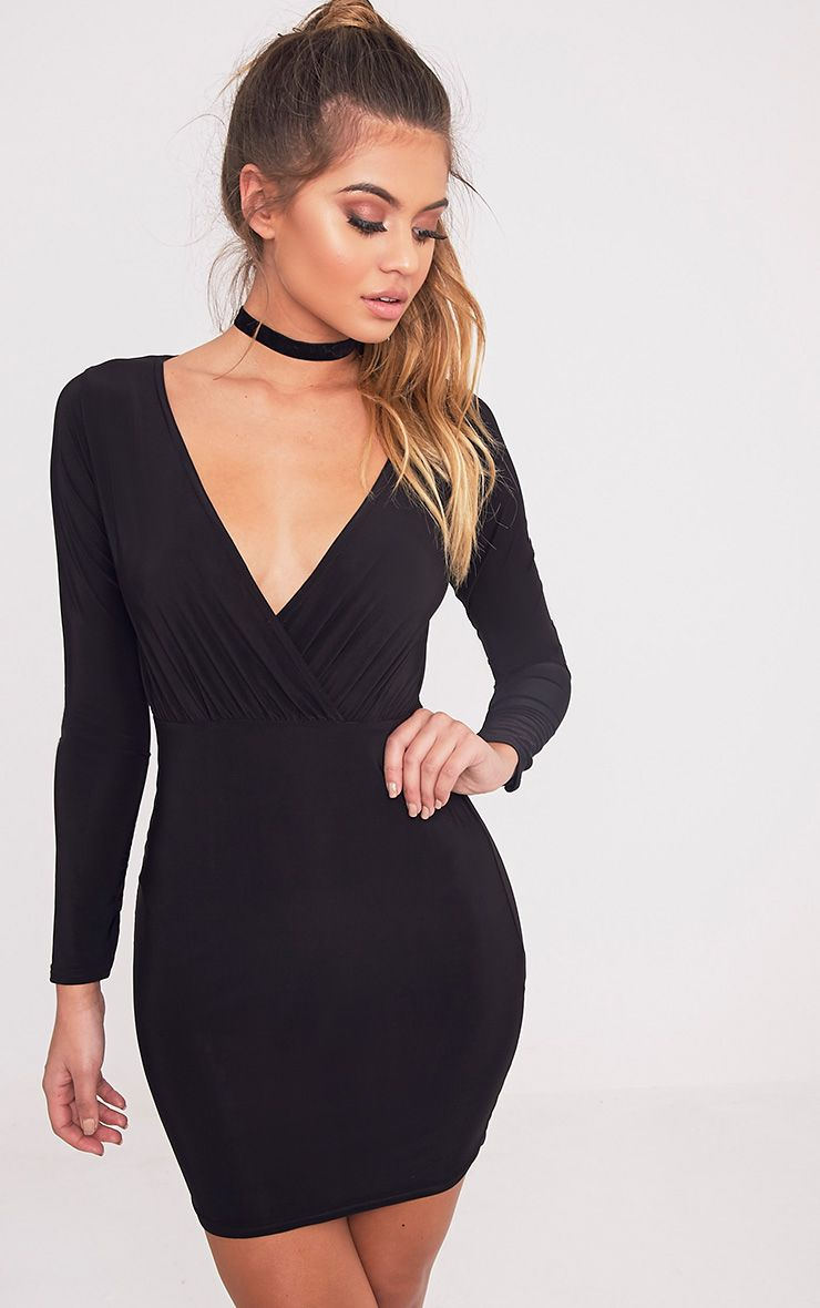 Brylie Black Cross Front Mini Dress 1