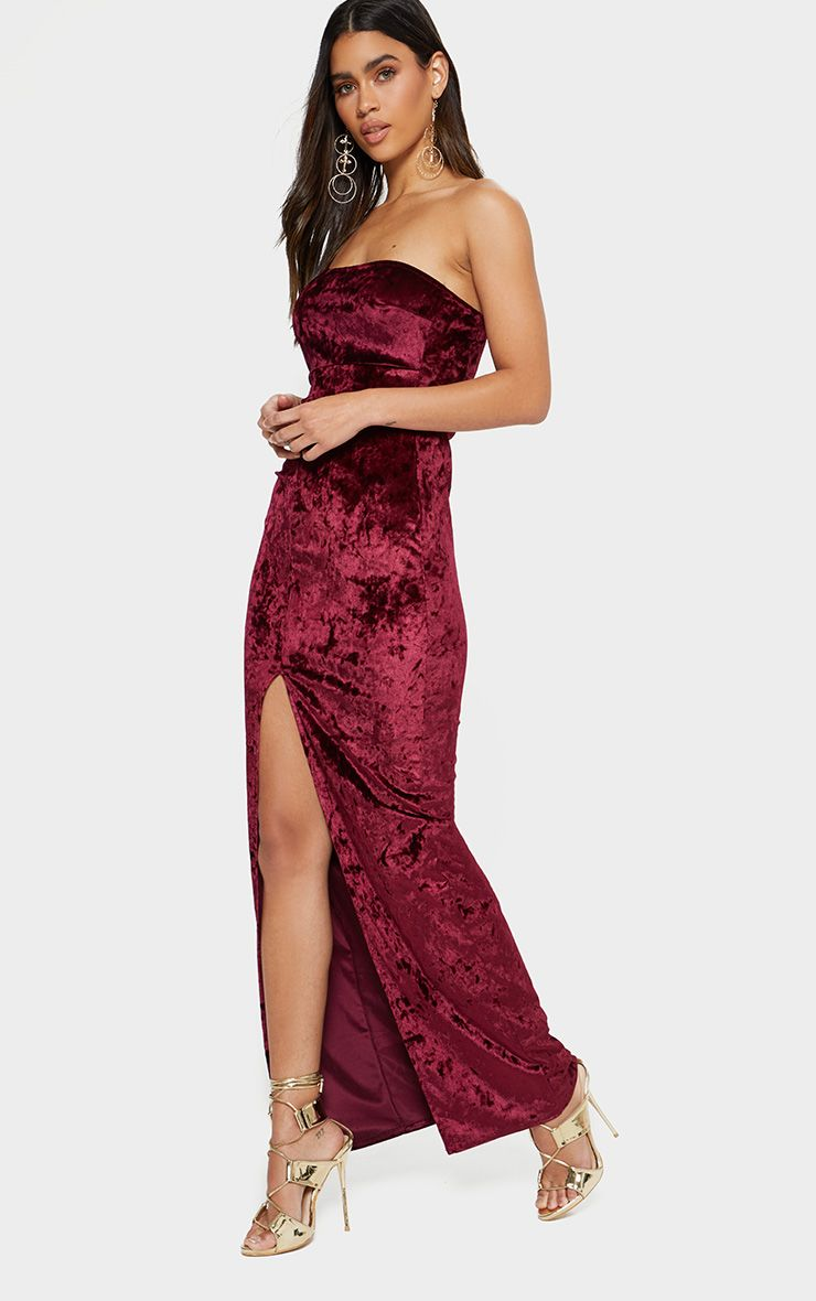 Burgundy Bandeau Split Front Maxi Dress