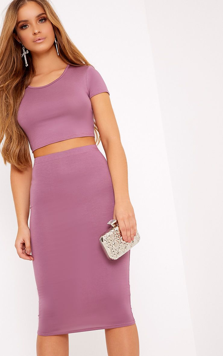 Anaceila Mauve Jersey Top & Midi Skirt Set