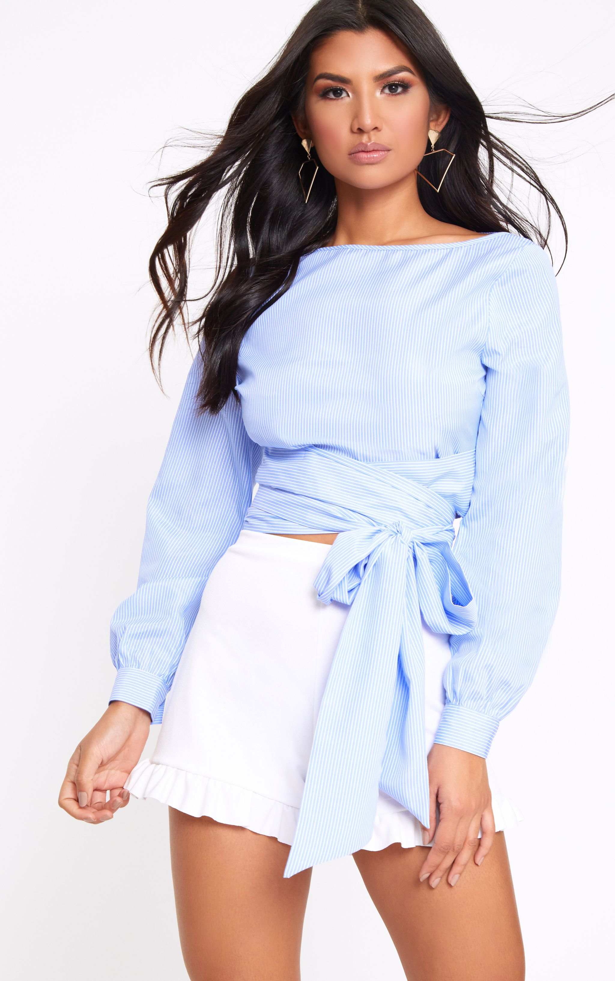 Blue Stripe Open Tie Around Crop Shirt