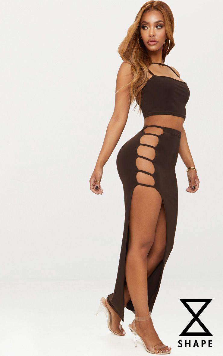 Discount Pick A Best Cheap Sale Best Seller Shape Black Cut Out Midaxi Skirt Pretty Little Thing Comfortable Sale Online Cheap Largest Supplier Wm7dNGq