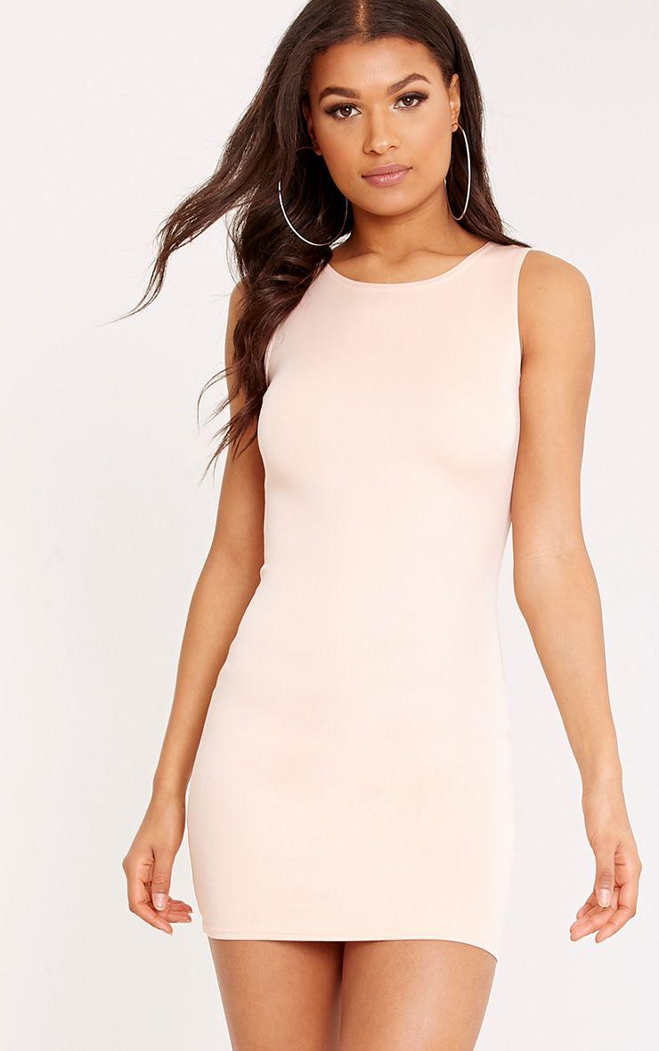 Colette Nude Scuba Bodycon Dress