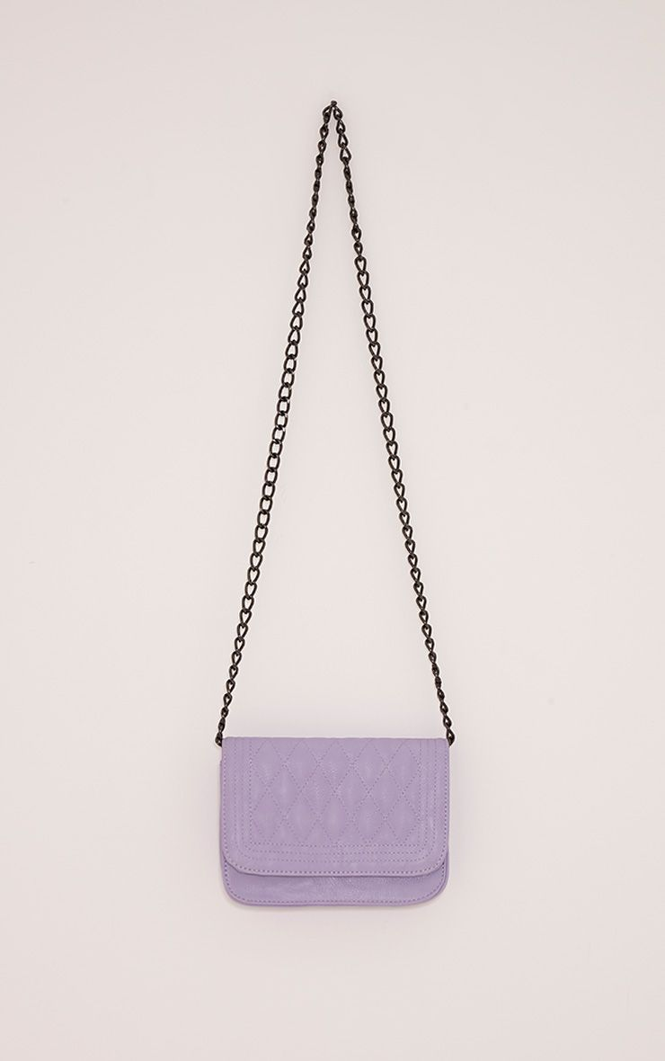 Emma Lilac Quilted Chain Strap Shoulder Bag