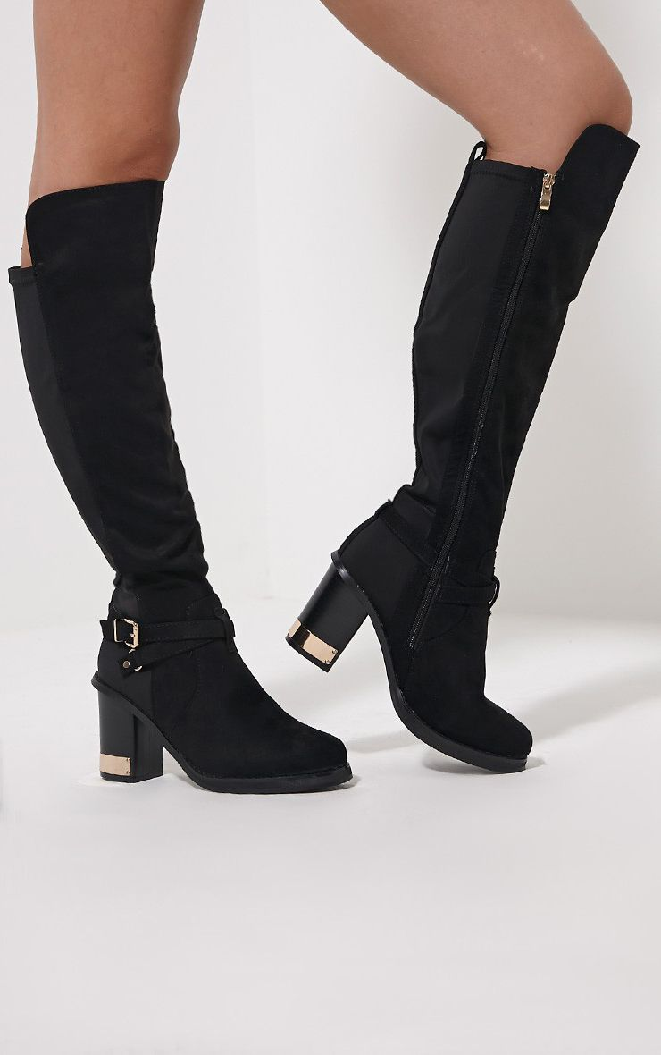 Suzette Black Knee High Suede Buckle Boots 1
