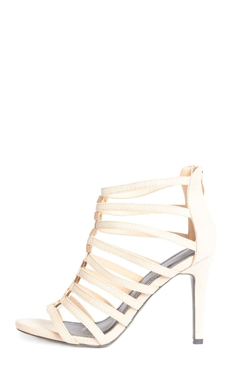 Marietta Beige Suede Gladiator Stud Heeled Sandals  1