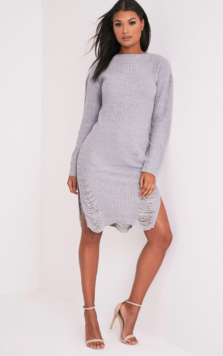 Kionae robe en maille surdimensionnée grise 5