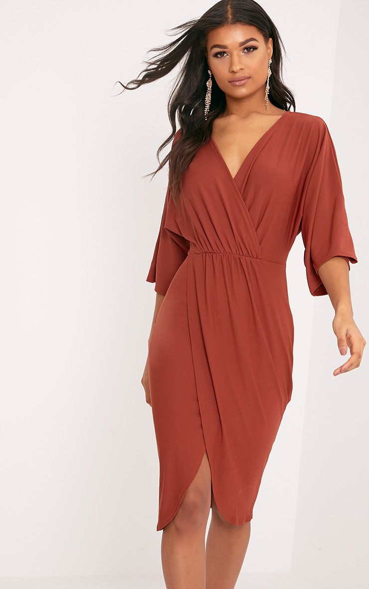 Archer Tobacco Cape Midi Dress 1