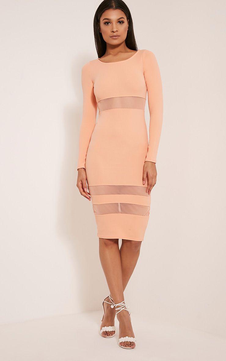 Kaycee Peach Long Sleeve Mesh Panel Midi Dress 1