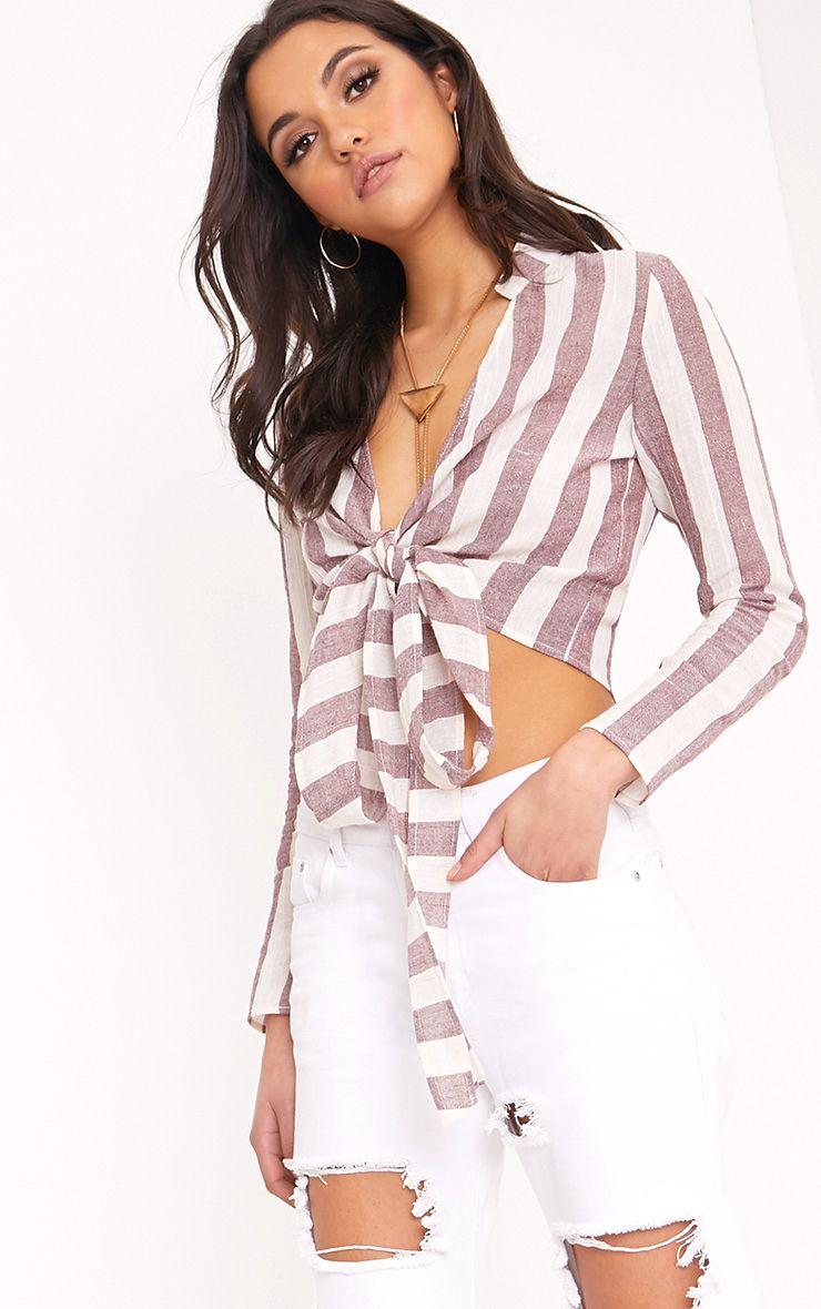 Blanche Burgundy Stripe Tie Waist Blouse