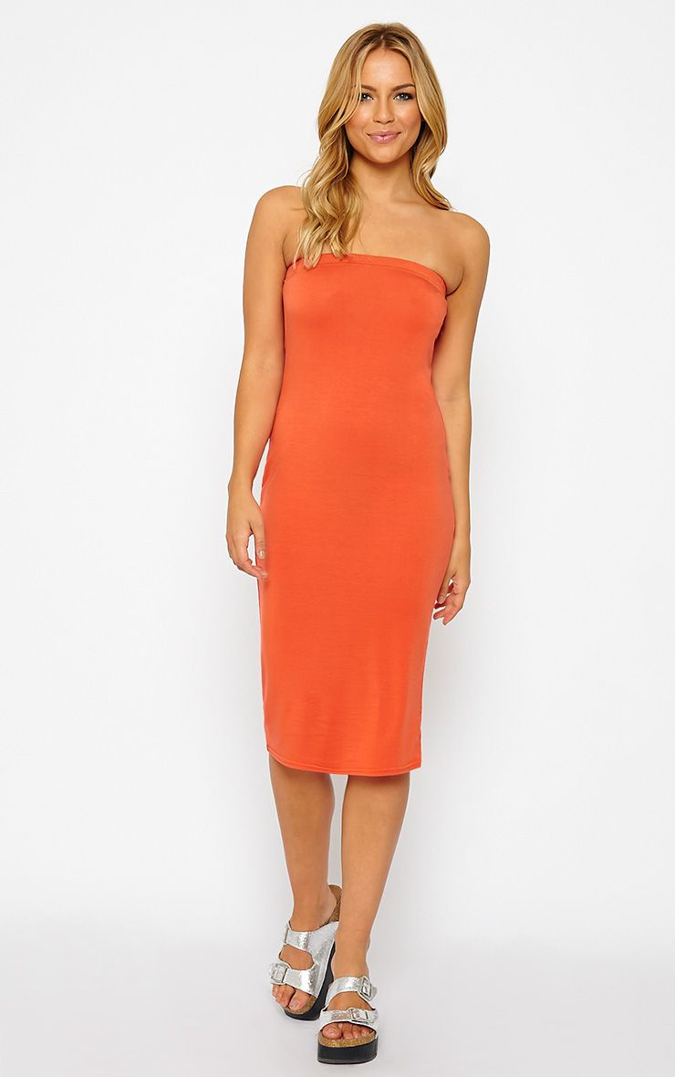 Basic Orange Jersey Bandeau Midi Dress 1