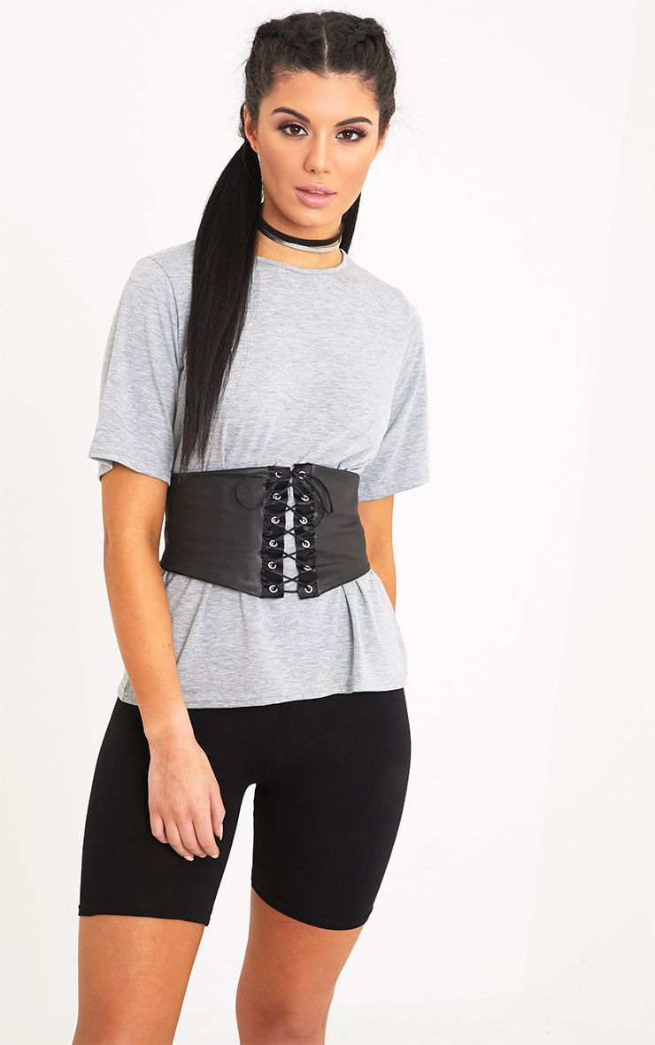 Leanora Grey PU Corset Detail T Shirt