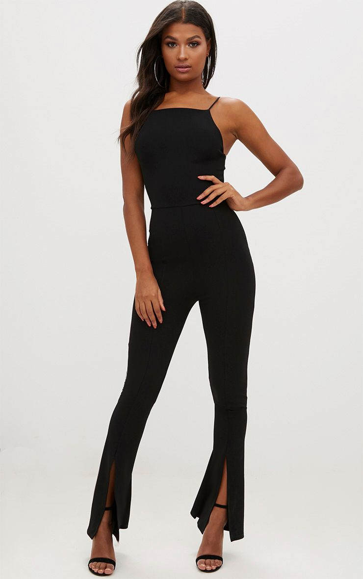 Black t shirt playsuit - Black 90 S Neck Split Leg Jumpsuit