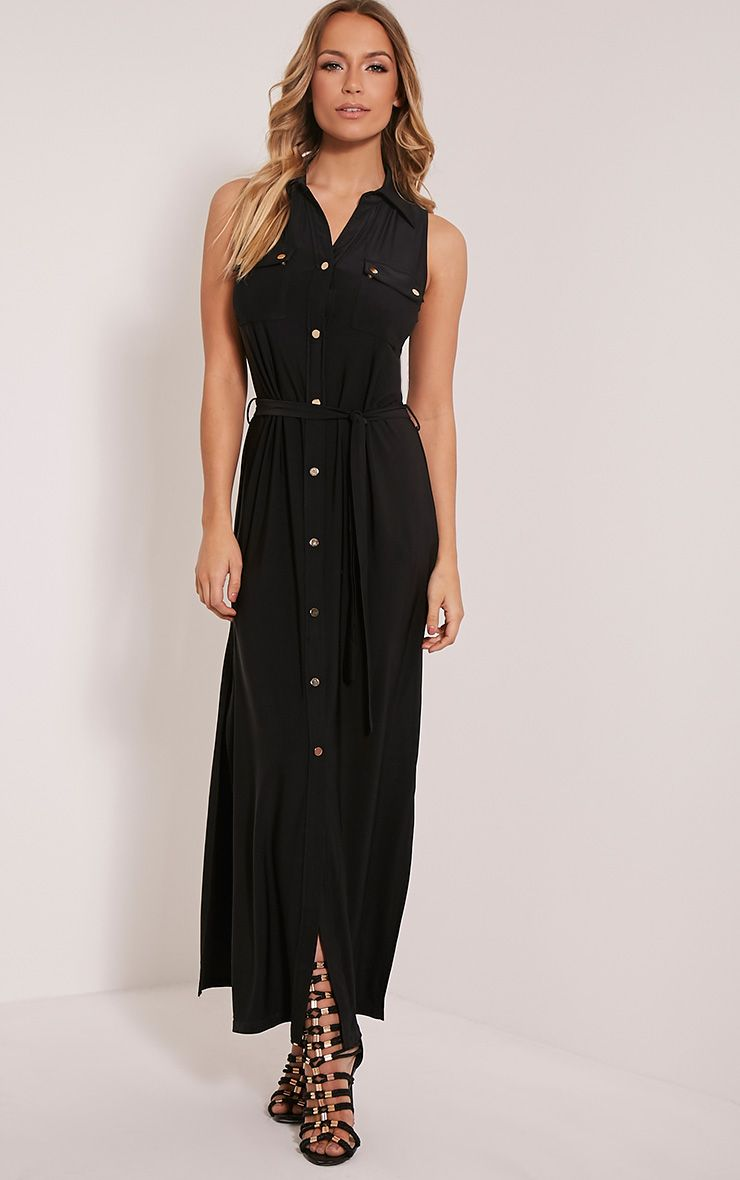 Marsia Black Sleeveless Utility Maxi Dress 1