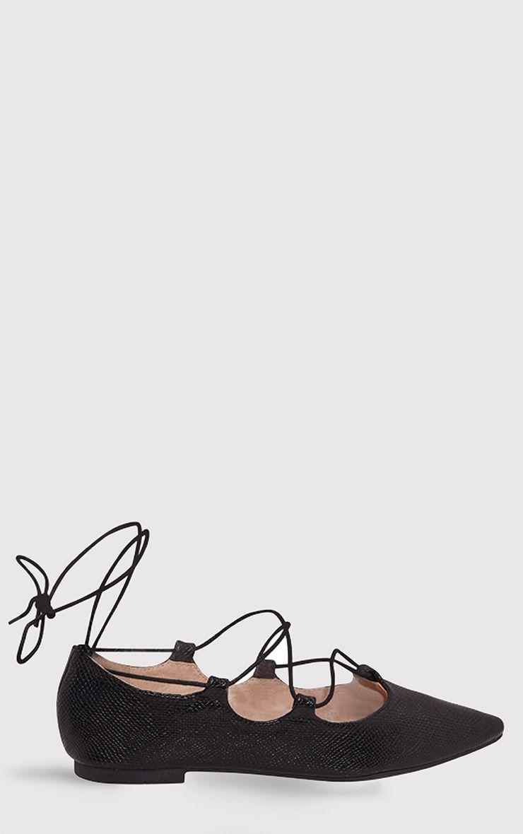 Ezmae Black Snake Lace Up Pointed Ballet Pumps