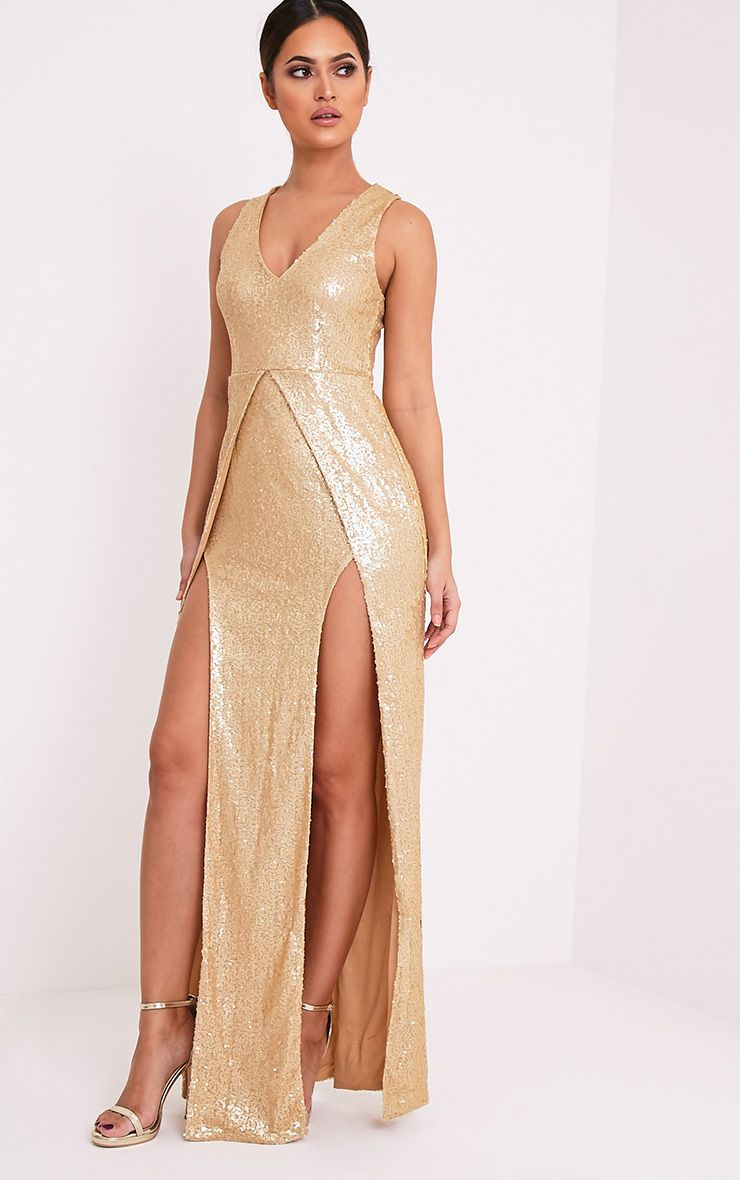 Jestina Gold Sequin Maxi Dress