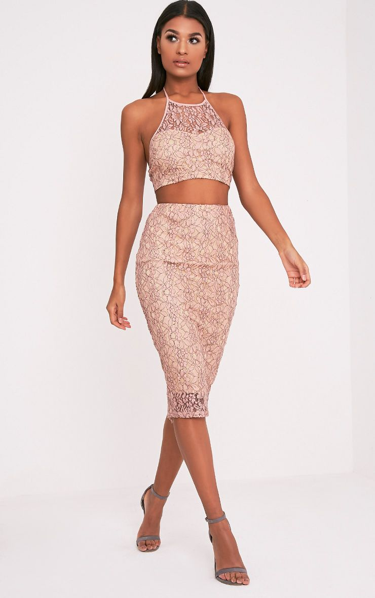 Joy Nude Lace Midi Skirt