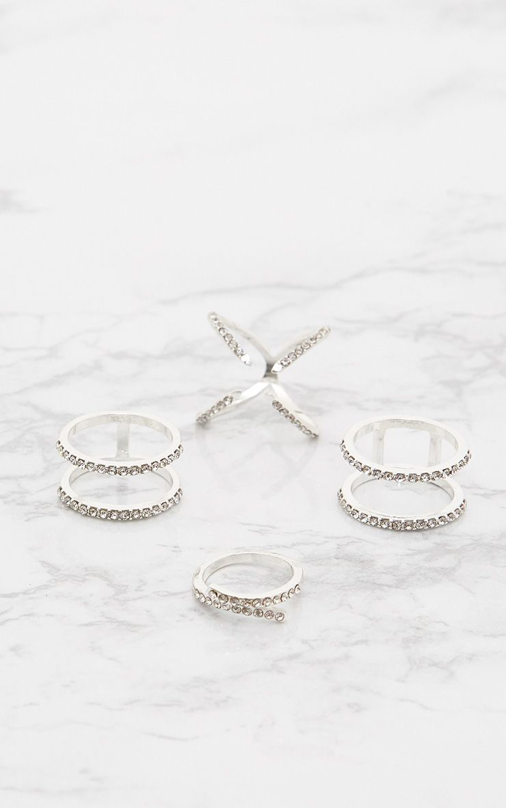 Silver Diamante Four Pack Rings