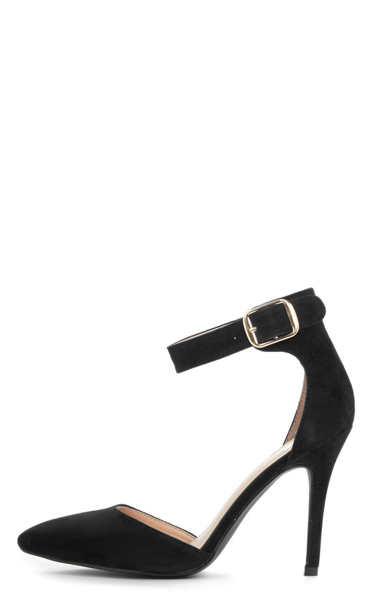Agyness Black Suedette Ankle Strap Stiletto 1