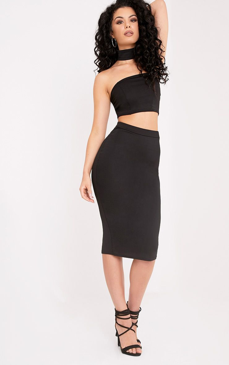 Lacy Black Crepe Midi Skirt