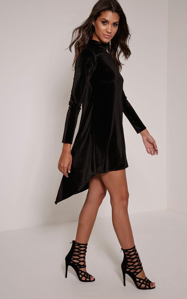Rosay Black Velvet Drop Hem Long Sleeve Dress 1