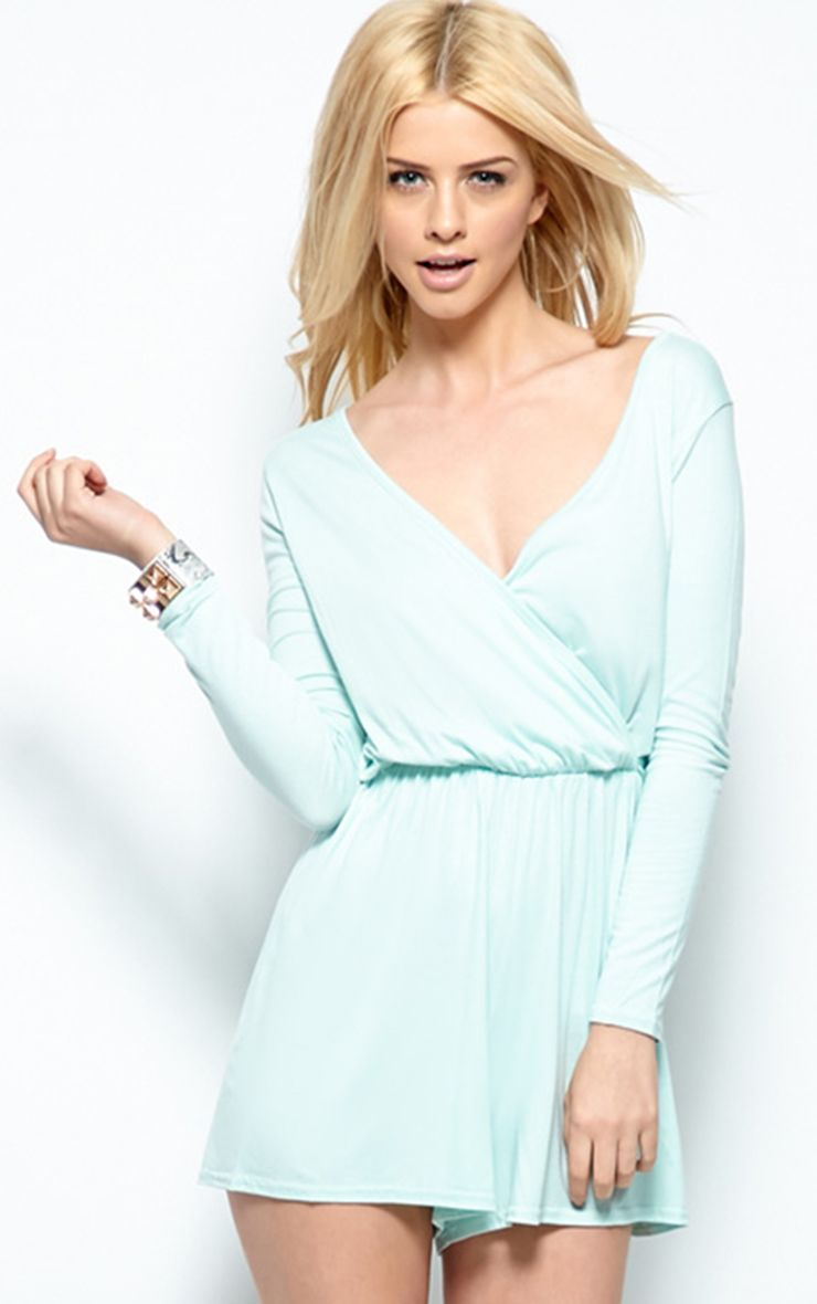 Maddison Mint Wrap Over Playsuit-M/L 1