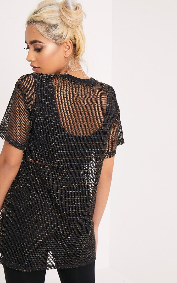 Celina Black Dragon Applique Mesh Oversized T Shirt