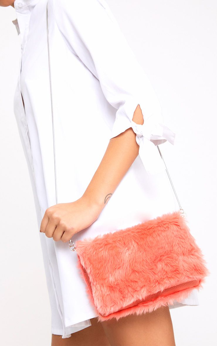 Pink Fluffy Clutch Bag