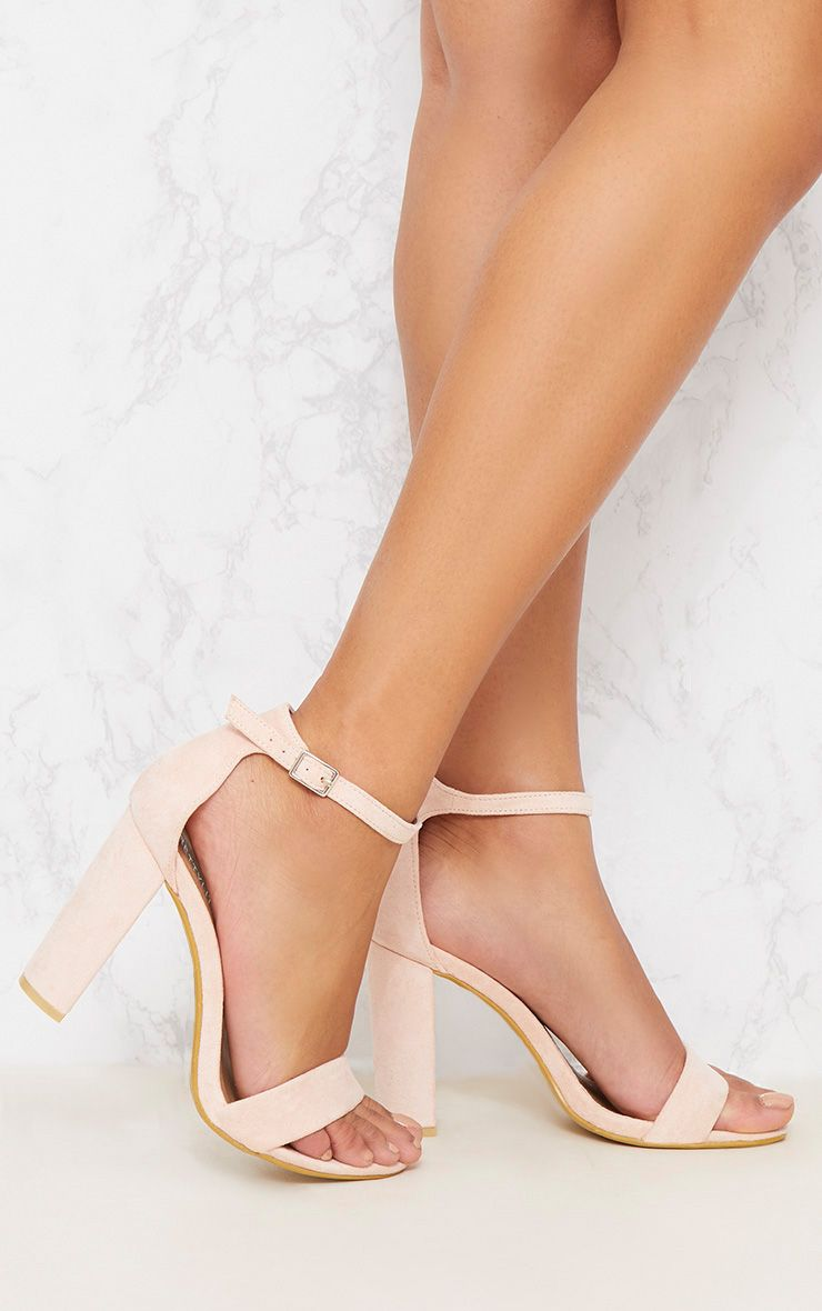Dusty Pink Block Heel Strappy Sandal