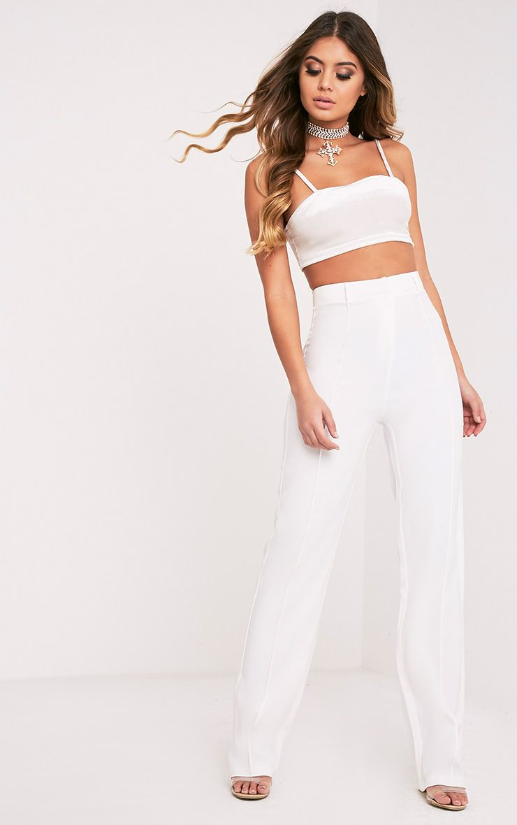 Anala Cream High Waisted Wide Leg Trousers