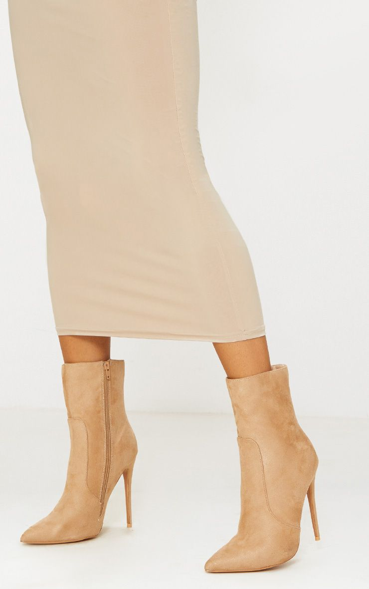 Stone Faux Suede Heeled Ankle Boot