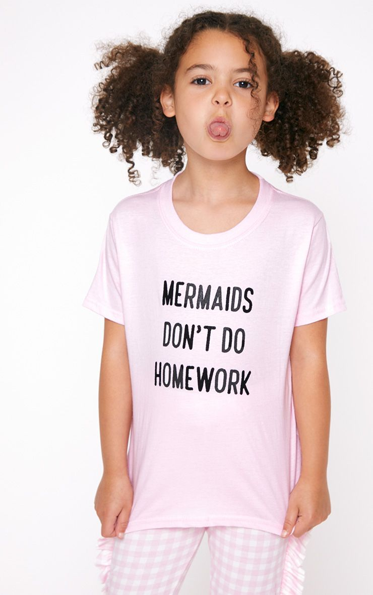 Mermaids Don t Do Homework Pink T Shirt