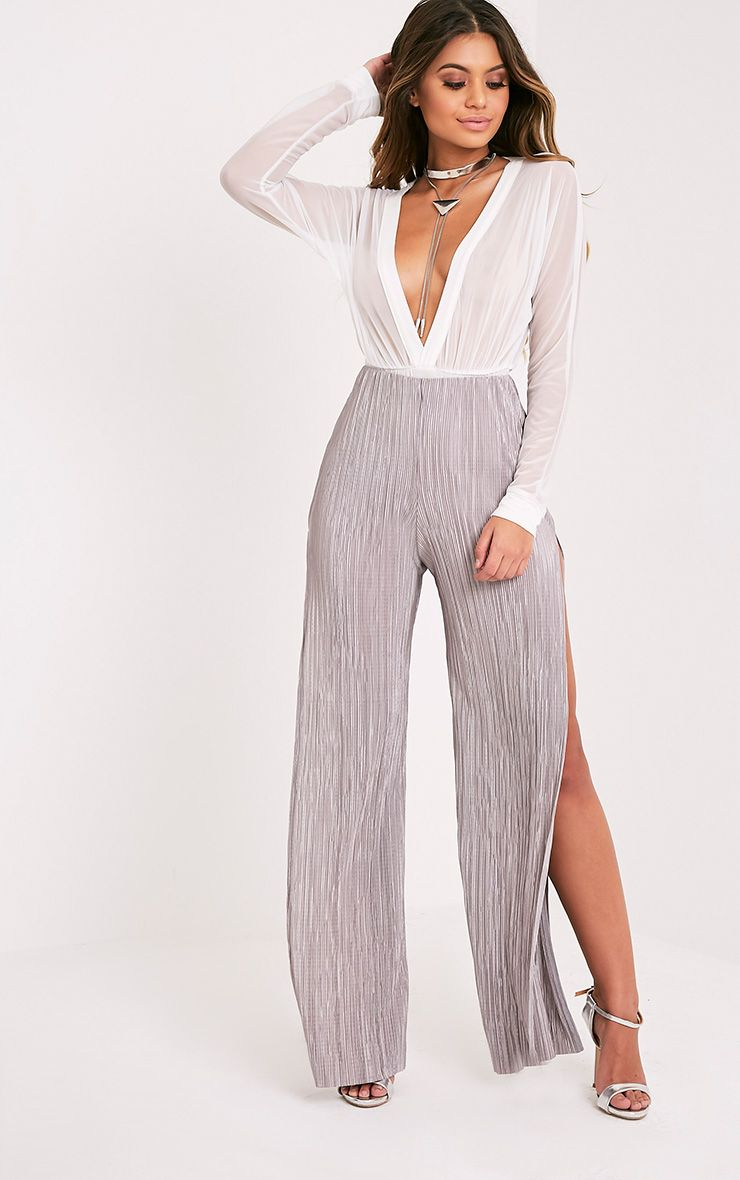 Dena Grey Pleated Side Split Trousers