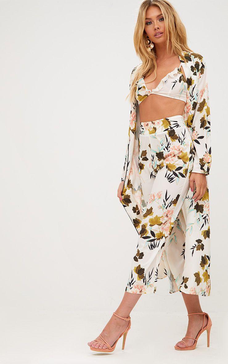 Cream Floral Kimono Culottes