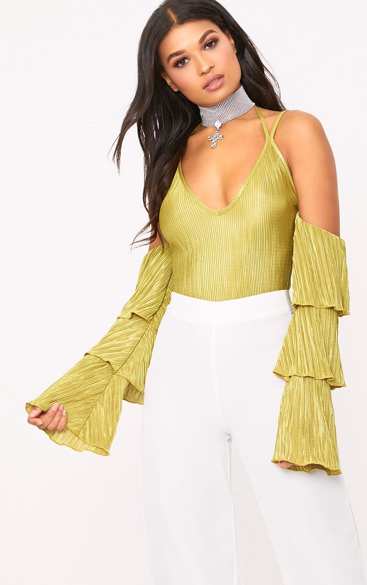 Lime Pleated Frill Sleeve Cold Shoulder Thong Bodysuit
