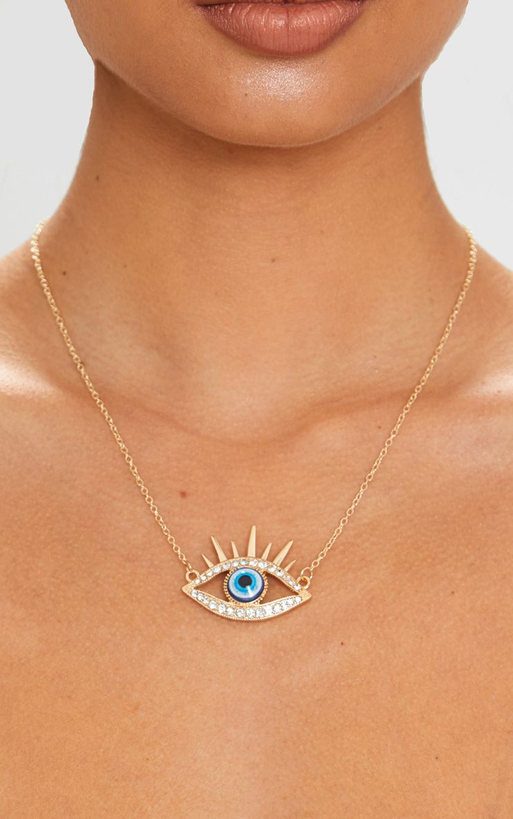 Gold Large Diamante Eye Pendant Necklace 1