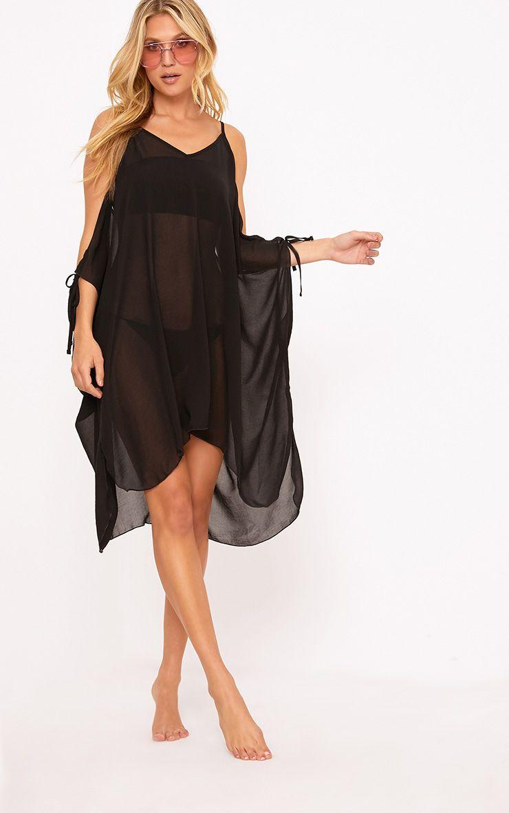 Roslyn Black Chiffon Beach Cover Up Dress