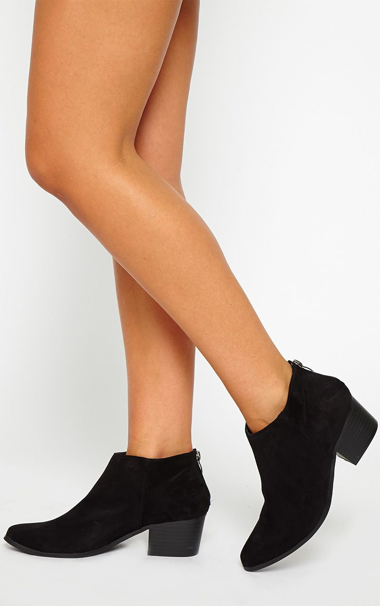 Rissa Black Pointed Suede Ankle Boots 1