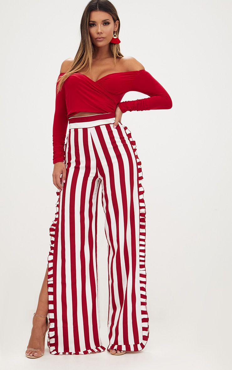Burgundy Humbug Stripe Frill Split Trousers