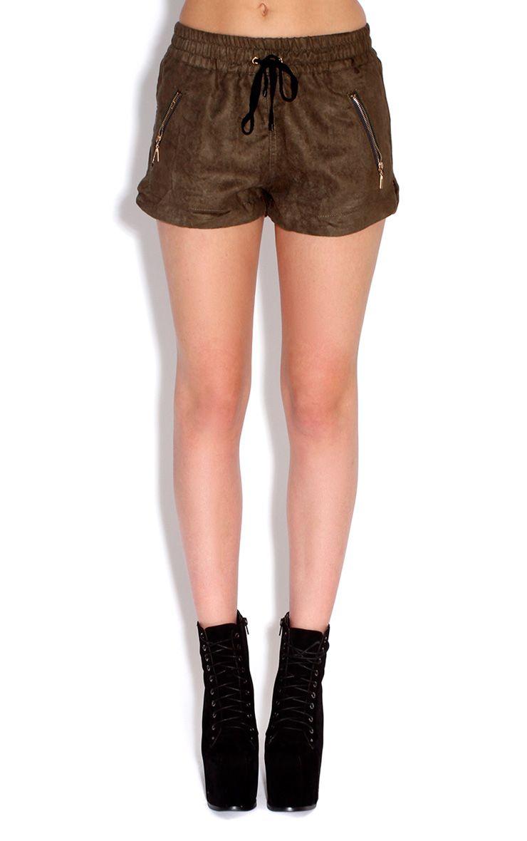 Allison Khaki PU Boxer Style Shorts Green