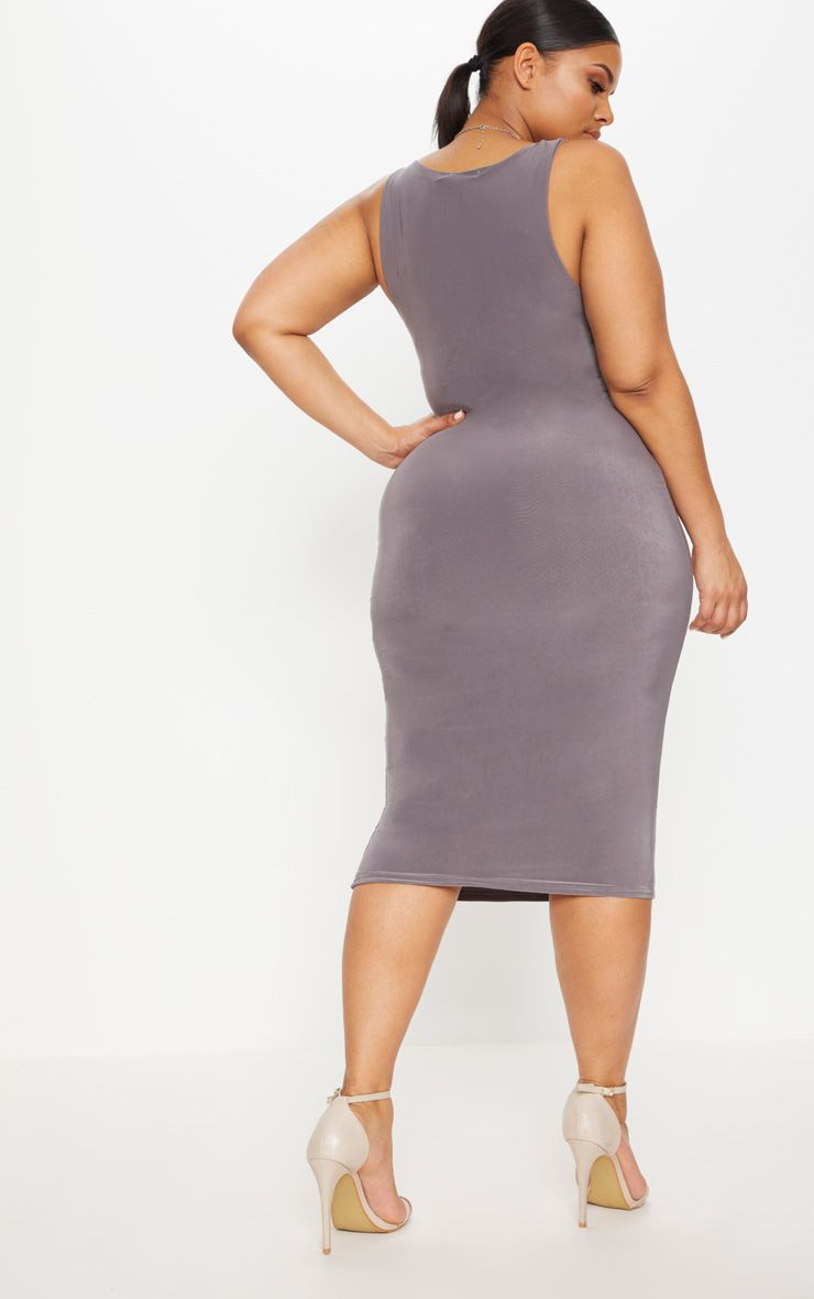 Online Cheap Authentic Clearance Store For Sale Charcoal Grey Second Skin Slinky Scoop Neck Midi Dress Pretty Little Thing Cheap With Mastercard Sale Release Dates uxrQ6L