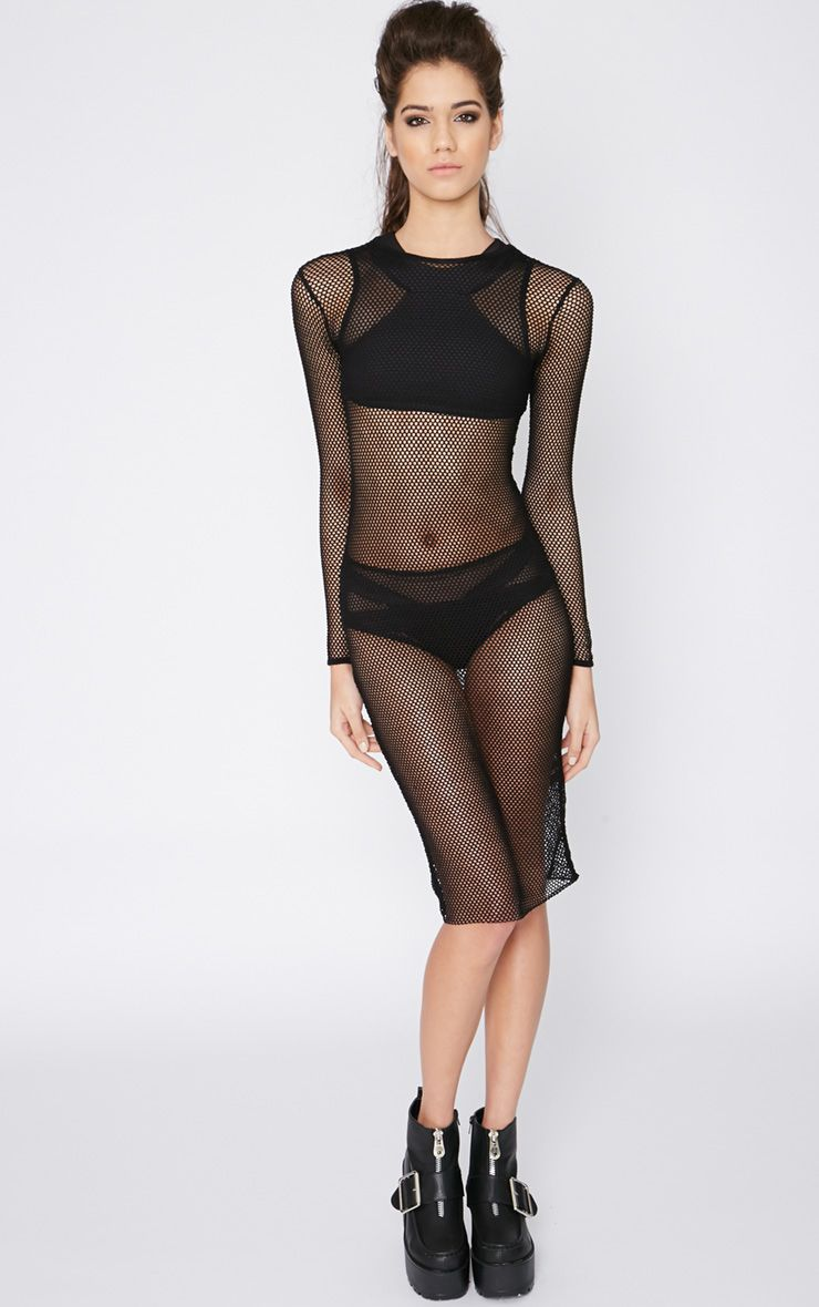 Arlo Black Fishnet Dress 1