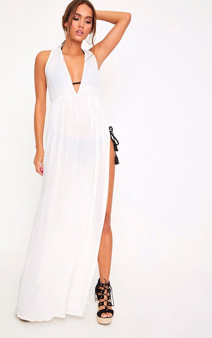 White Cheesecloth Plunge Maxi Dress