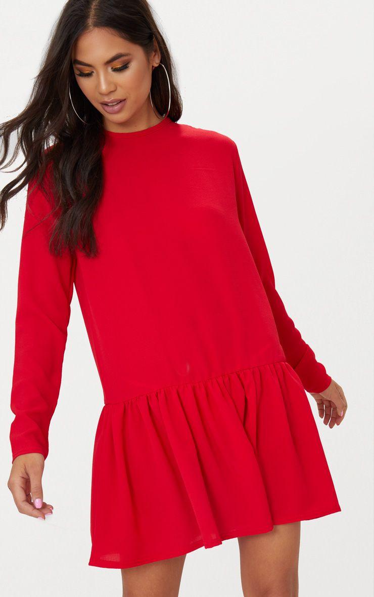 Red Long Sleeve Frill Hem Shift Dress