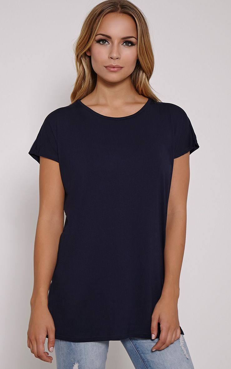 Basic Navy Oversized Round Neck T Shirt 1