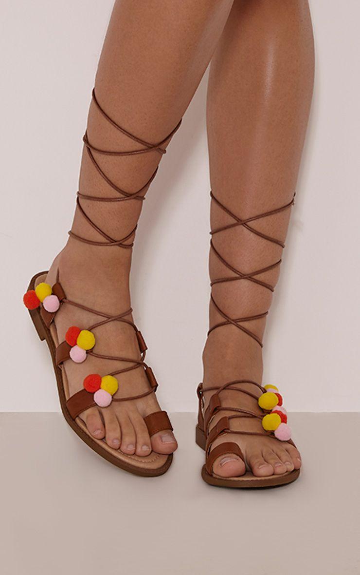 Aida Tan Pom Pom Detail Sandals 1