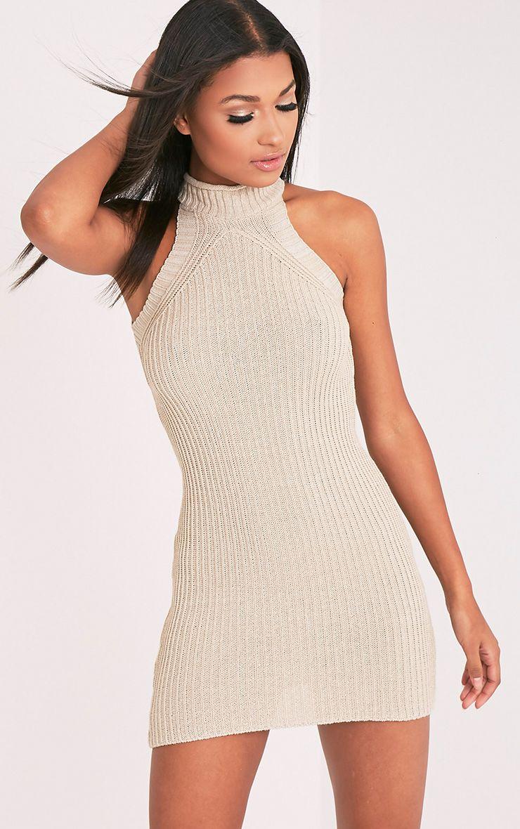 Nadalae robe mini sans manches col montant tricotée gris pierre 1