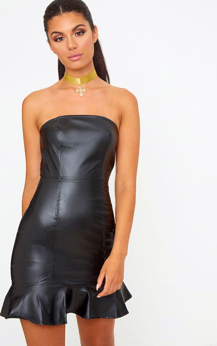 Black PU Frill Hem Bodycon Dress