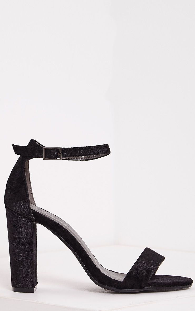 May Black Crushed Velvet Block Heeled Sandals
