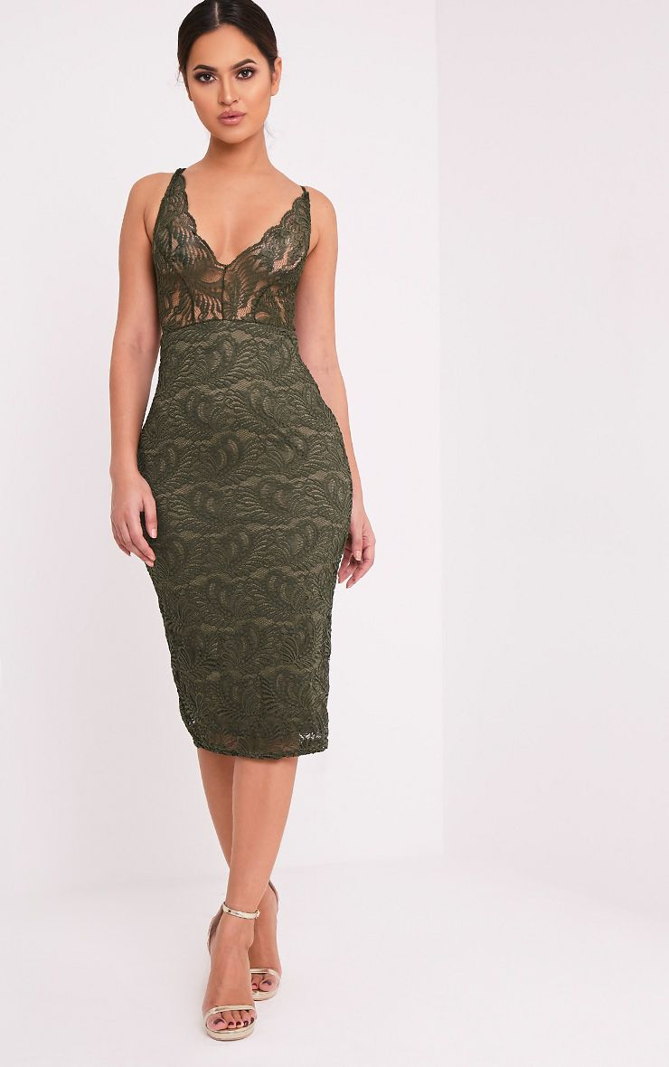 Mikalia Khaki Strappy Lace Midi Dress